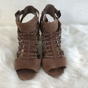 Vince Camuto brown leather open toe ankle heels